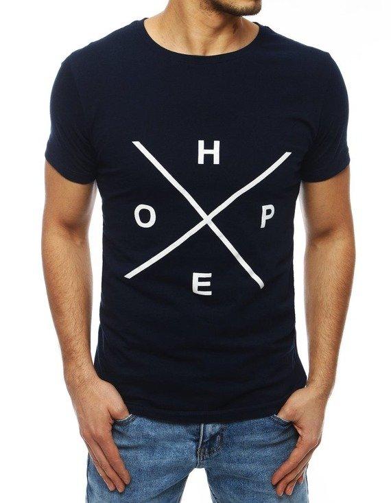 granatowy t-shirt z nadrukiem